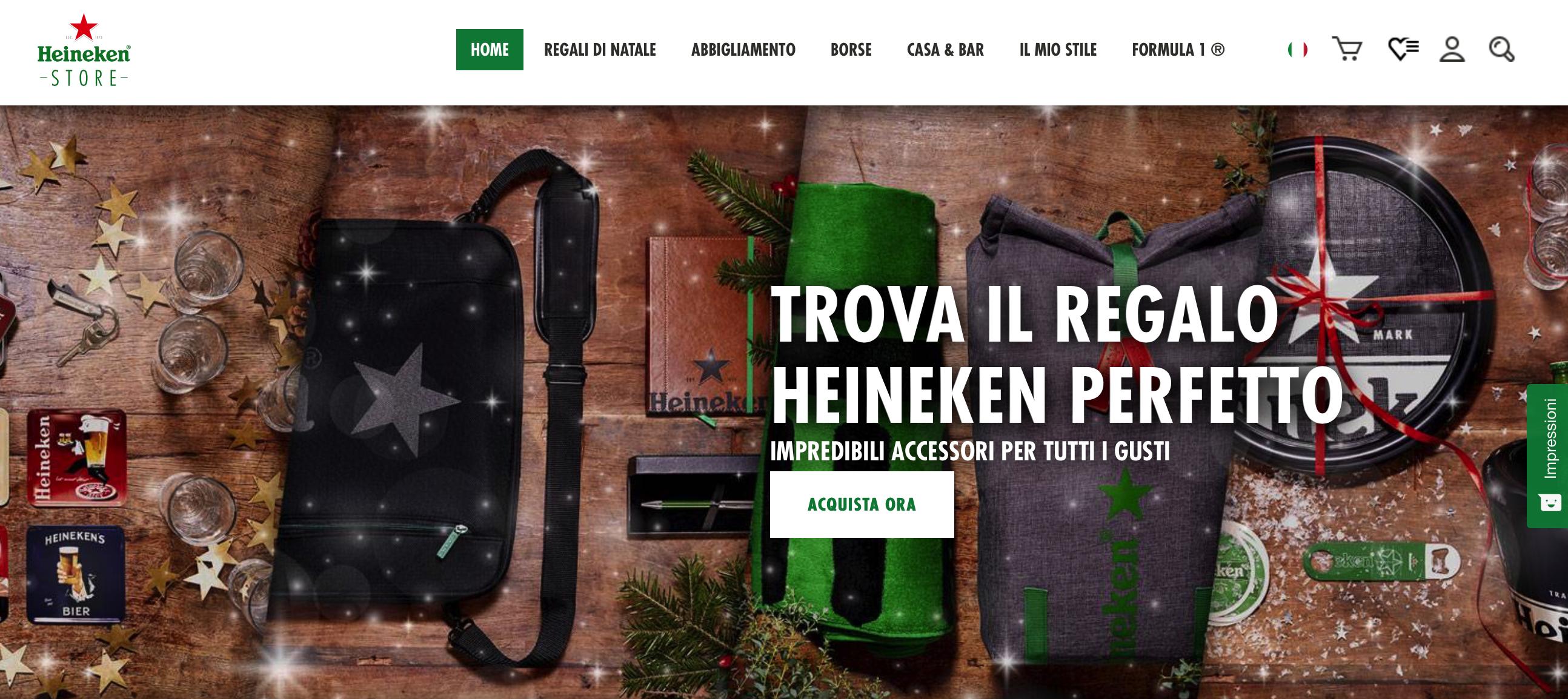 Altra particolarità è la presenza di uno store online interamente dedicato  a Heineken in cui è possibile acquistare di tutto 0d21c11bba70