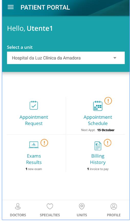 Pagina utente dell'applicazione mobile dell'Hospital da Luz.