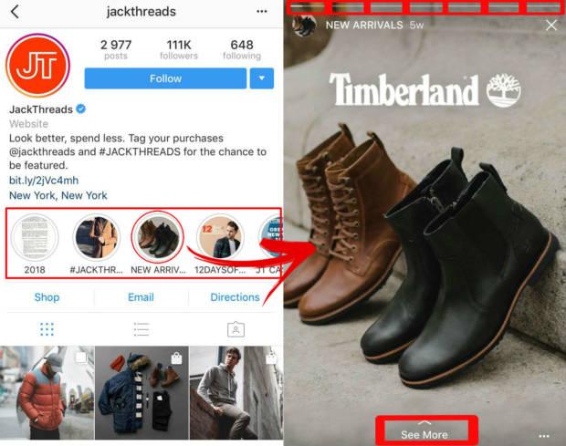 instagram per eCommerce storie in evidenza