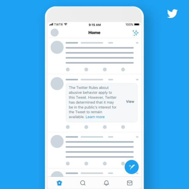 Twitter contro i contenuti inappropriati etichetta
