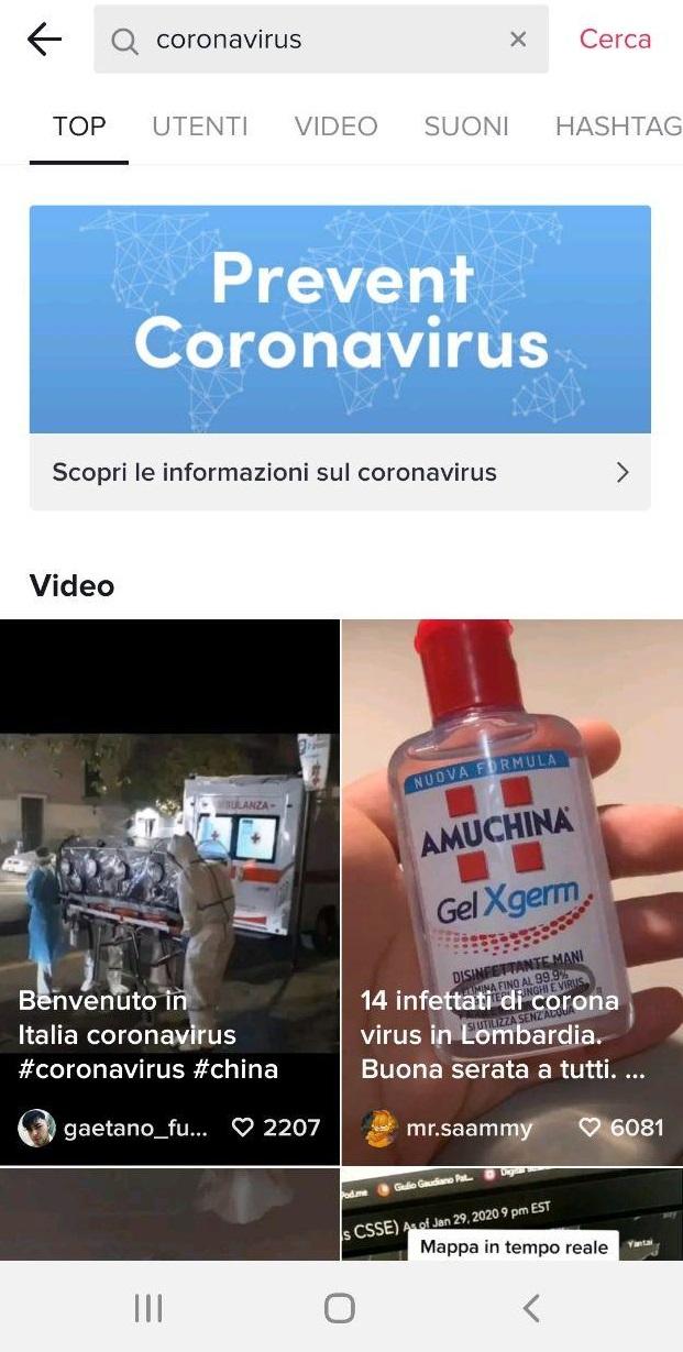 coronavirus landing page tiktok