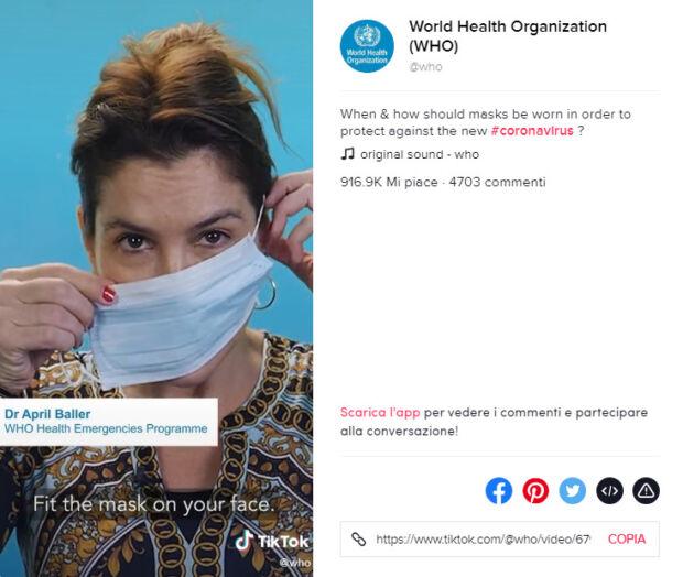 organizzazione mondiale sanità su tiktok
