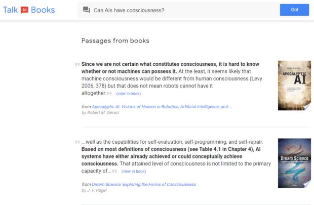 talk to books applicazione google web semantico