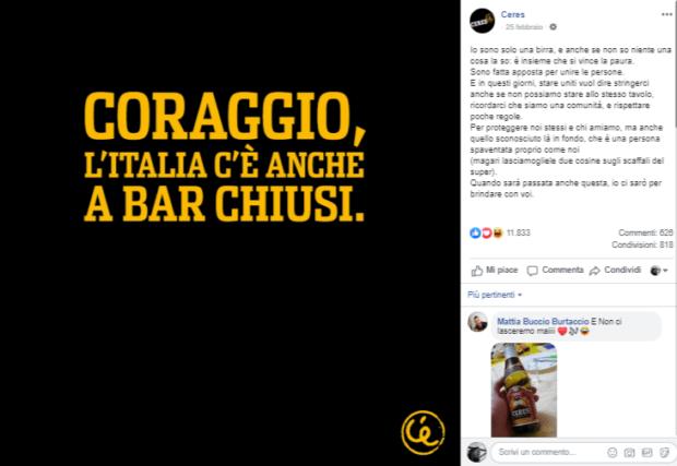 Il messaggio di Ceres agli italiani: : la comunicazione dei brand durante il coronavirus