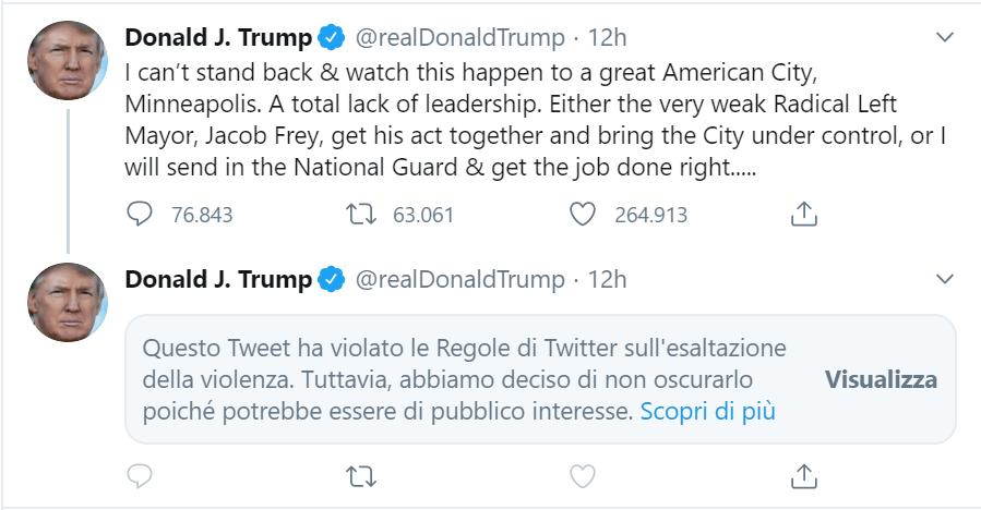 twitter censura tweet di Trump su Minneapolis