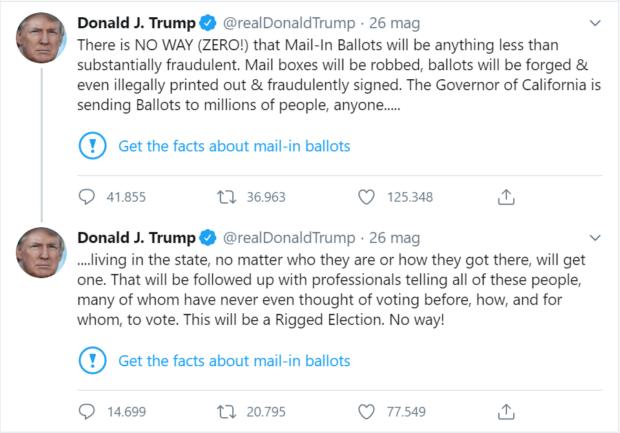 twitter segnala un tweet di Trump sul voto via posta