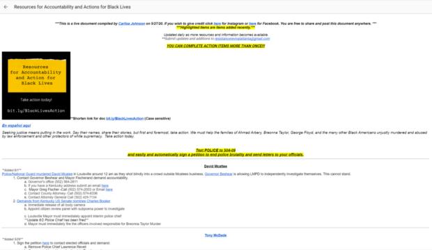 google docs per il black lives matter usi