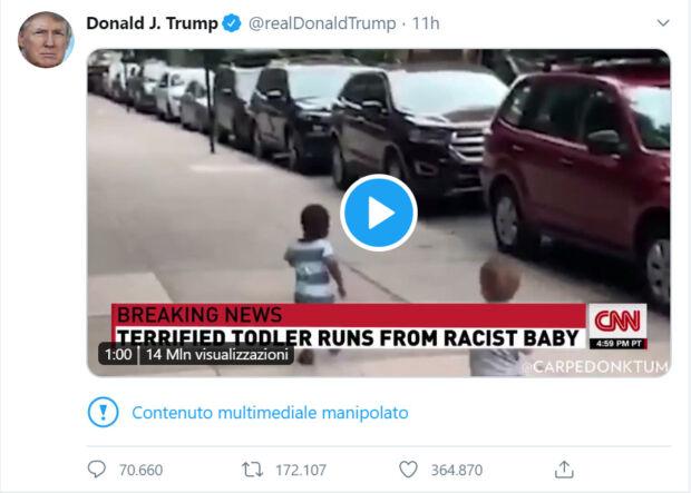 trump twitta video manipolato del bambino razzista