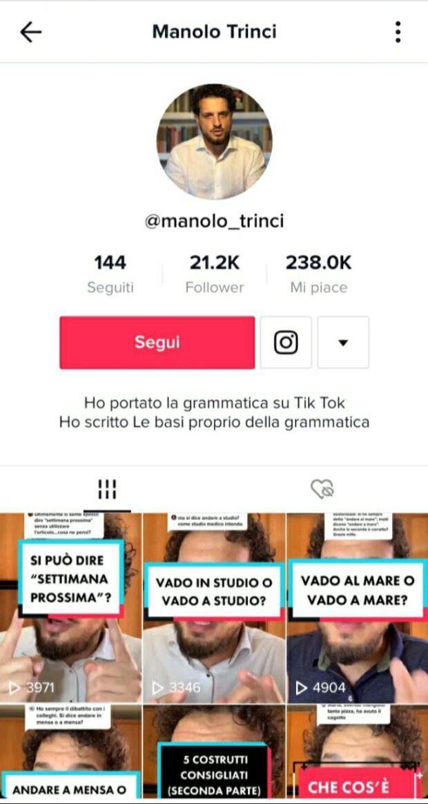 micro influencer per la grammatica italiana manolo trinci tktok