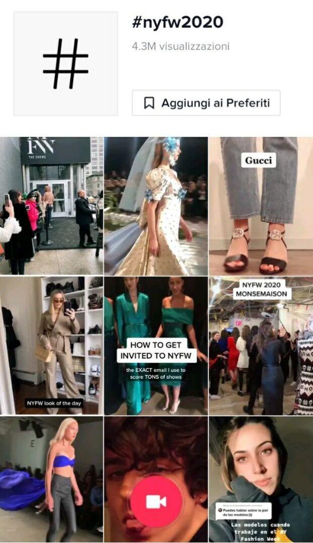 new york fashion week 2020 su tiktok