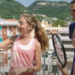 Pubblicità Barilla con Carola e Vittoria e Federer