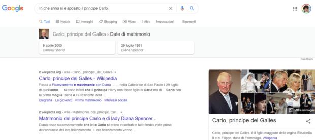 Risultati organici di Google esempio principe Carlo