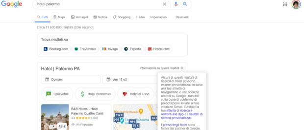 Risultati organici su Google ricerca hotel