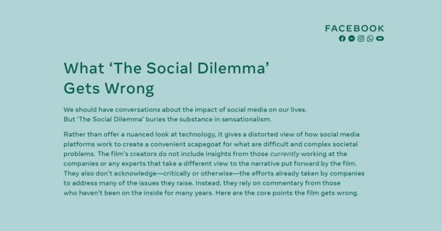 facebook risponde a The Social Dilemma