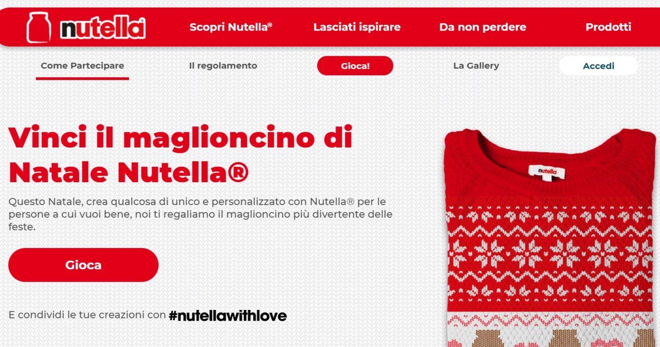 Campagna vinci il maglioncino di Natale Nutella